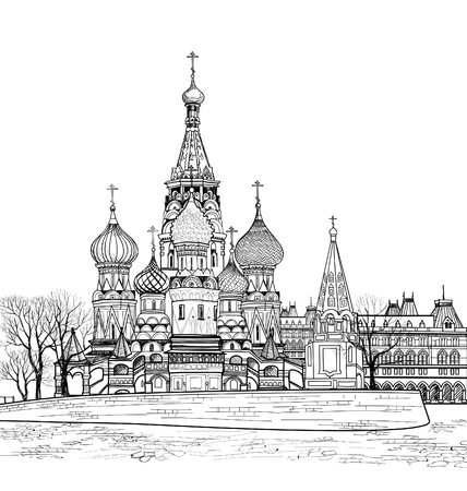 red square moscow: St Basil cathedral, Moscow, Russia. Travel Russia vector illustration. Russian famous place citsycape. Red square city view from Moscow river.