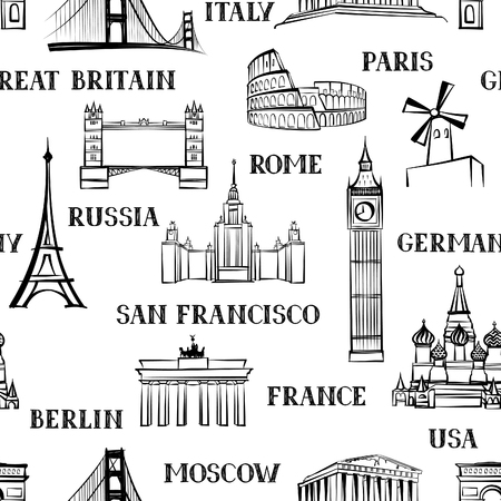 Travel seamless pattern. Vacation in Europe wallpaper. Travel to visit famous places of the world background. Landmark tiled grunge pattern.