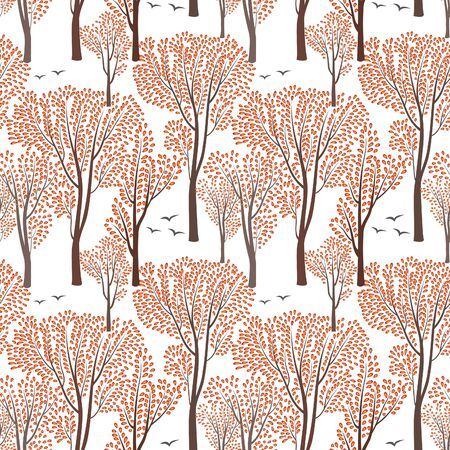 árboles con pajaros: Fall nature wildlife seamless pattern Autumn trees background Plant with leaves. Forest birds ornamental endless pattern Vectores