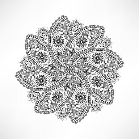 sacramental: Oriental geometric outline flower isolated. Mandala desin element, ethnic amulet. Indian floral decor