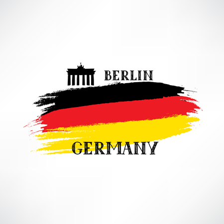 brandenburg: Grunge painted German Flag Sketch with hand drawn lettering and Brandenburger Gate. Tavel Berlin  Germany sign isolated on white vector illustration