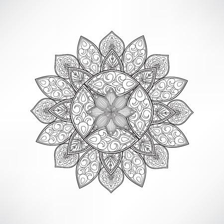 sacramental: Geometric flower mandala for coloring. Mandala vector coloring page. Mandala art design. Intricate mandala pattern. Unusual mandala tattoo. Outline mandala flower.