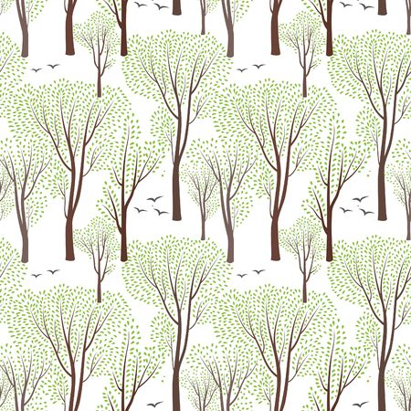 nature pattern: Spring nature wildlife seamless pattern Blooming trees background Plant with leaves. Forest birds ornamental endless pattern Illustration