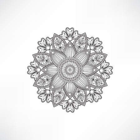 sacramental: Abstract ornamental floral mandala Black and white line pattern. Stylish oriental ornament Outline geometric flower background