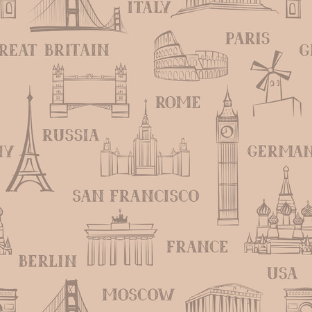 famous places: Travel seamless pattern. Vacation in Europe wallpaper. Travel to visit famous places of the world background. Landmark tiled grunge pattern.