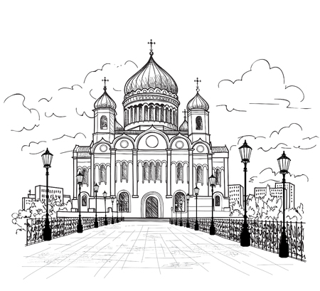 moscow city: Cathedral of Christ the Saviour in Moscow, Russia. Russian famous building. Moscow city view. Yand drwn sketch vector illustration