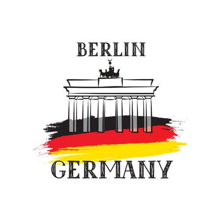 Tavel Berlin Germany label German flag sketch and Brandenburger Gate, vector artwork, separated on white