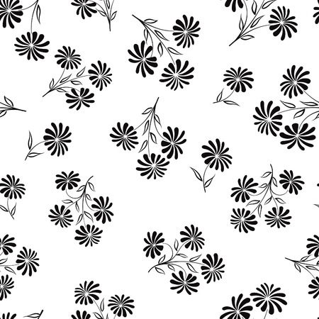 aster: Floral seamless pattern. Flower bouquet background. Floral seamless texture with flowers chamomile. Flourish black and white tiled wallpaper