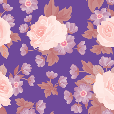 posy: Floral bouquet seamless pattern. Flower posy background. Floral ornamental texture with flowers. Flourish tiled wallpaper