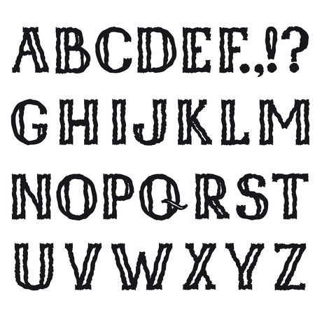 bumpy: Alphabet. Grunge shakily line marker drawing decorative font. Hipsters doodle ragged latin letter characters alphabet set in bumpy halloween party style