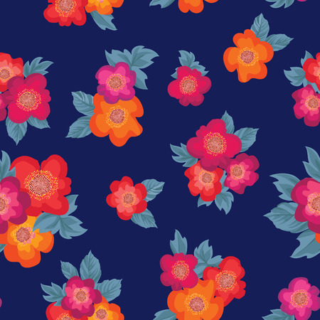 posy: Floral seamless pattern. Flower posy ornament. Flourish ornamental repeatable background