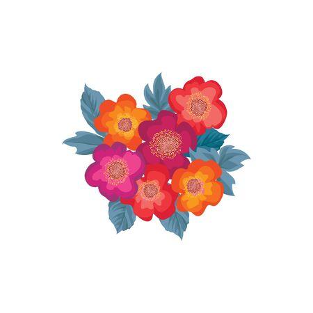 ramillete de flor por un patrón de diseño festivo. ramo de flores aisladas sobre fondo blanco. Flores con las hojas diseño elemento de tarjeta de felicitación broche de oro Ilustración de vector
