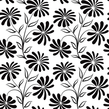 Floral seamless pattern. Flower bouquet background. Floral seamless texture with flowers chamomile. Flourish black and white tiled wallpaper