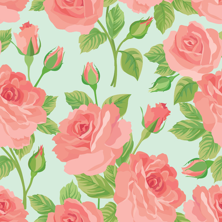 tiled: Floral bouquet seamless pattern. Flower posy background. Ornamental texture with flowers roses. Flourish tiled wallpaper