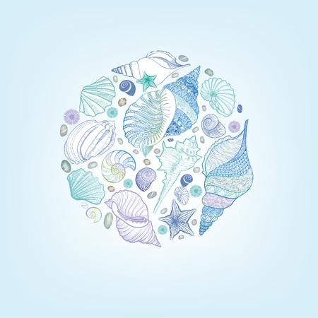 star of life: Seashell sketching pattern. Summer holiday marine background. Underwater still life decor. Resort postcard design. Vector greeting card with sea-shells, sea star and sand. Illustration