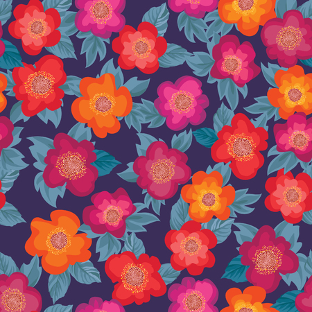 posy: Floral bouquet seamless pattern. Flower posy background. Ornamental texture with flowers roses. Flourish tiled wallpaper