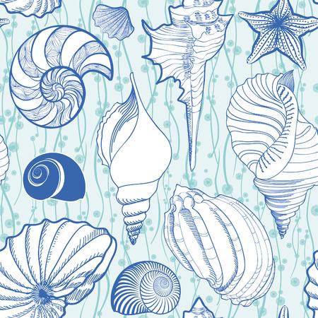 貝殻のシームレスなパターン。夏の休日の海洋背景。水中観賞用テクスチャ、海の貝、海の星砂とスケッチの壁紙です。