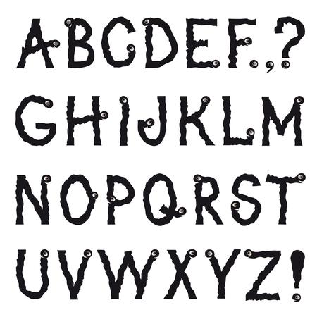 lombriz: Alfabeto. Dibujo animado animal ficticio temblorosa arrastrándose línea de dibujo de la fuente decorativa. Hipsters doodle de caracteres gusano letra latina irregulares conjunto del alfabeto en el estilo de fiesta de halloween