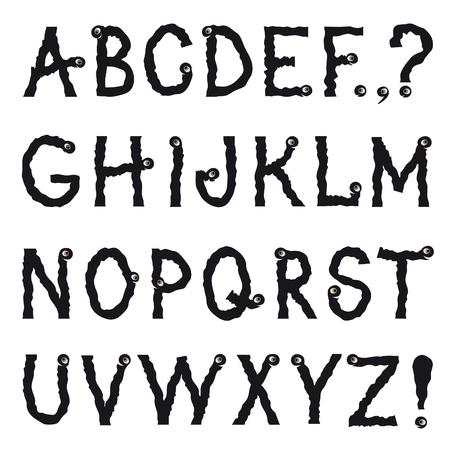 quivering: Alphabet. Cartoon fictional animal shakily crawling line drawing decorative font. Hipsters doodle ragged latin letter worm characters alphabet set in halloween party style