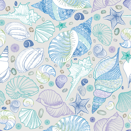 Seashell nahtlose Muster. Sommerurlaub marine Hintergrund. Unterwasser-ornamental strukturierte Skizzierung Tapete mit Muscheln, Seestern und Sand. Standard-Bild - 59839014