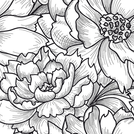 pencil drawing: Floral seamless pattern. Flower background. Floral seamless texture with flowers. Flourish tiled wallpaper