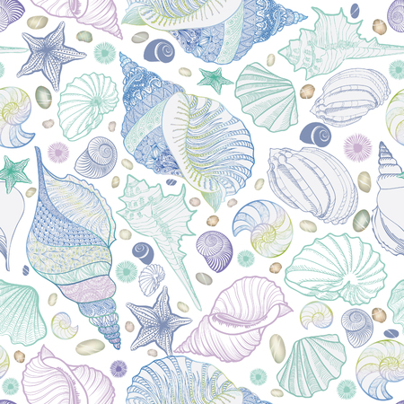 Seashell seamless pattern. Summer holiday marine background. Underwater ornamental textured sketching wallpaper with sea shells, sea star and sand.