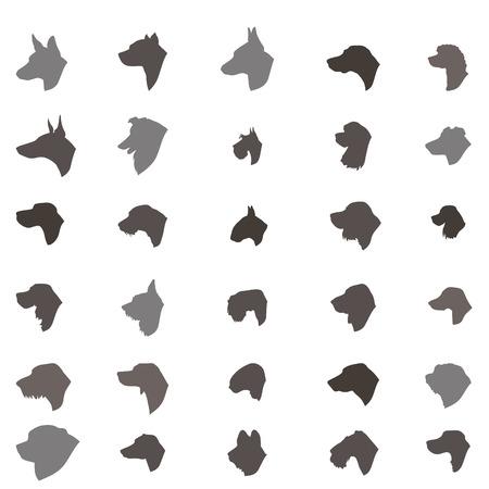 犬の頭のシルエット アイコンを設定します。犬の品種のセットです。異なる dos 繁殖ベクトル コレクション分離された家畜の図