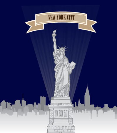 new york: New York, USA skyline. NYC city silhouette with Liberty monument. American landmark. Urban  architectural landscape. Cityscape background in retro moovie style