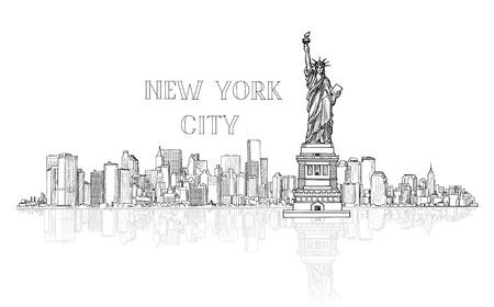 New York, USA skyline achtergrond. Stadssilhouet graveren met Liberty monument. Amerikaanse oriëntatiepunten. Urban architectonische landschap. Cityscape met beroemde gebouwen