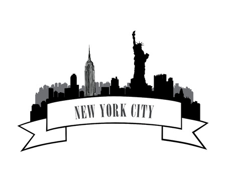new york skyline: New York, USA skyline sketch. NYC city silhouette with Liberty monument. American landmarks. Urban  architectural landscape. Cityscape with famous buildings Illustration