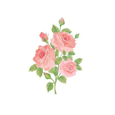 bouquet de fleurs: bouquet floral isolé sur fond blanc. Fleur rose posy. Carte de voeux avec fleurs roses. fond d'écran Flourish Illustration