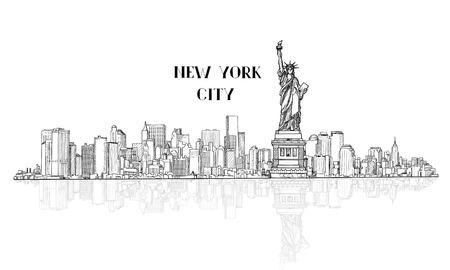 Nowy Jork, USA Skyline szkic. NYC sylweta miasta Liberty pomnika. Znane Miejsca w Ameryce. Miejskiego krajobrazu architektonicznego. Pejzaż z słynnych budowli