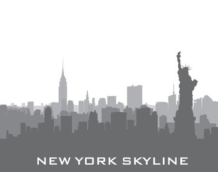 New York, USA skyline achtergrond. Stad silhouet met Liberty monument. Amerikaanse oriëntatiepunten. Urban architectonische landschap. Cityscape met beroemde gebouwen Stock Illustratie
