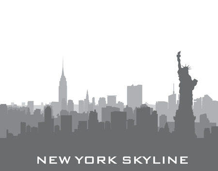 Nowy Jork, USA tle skyline. Sylwetka miasta z pomnikiem Liberty. Amerykańskich zabytków. Miejski krajobraz architektoniczny. Pejzaż z słynnymi budynkami Ilustracje wektorowe