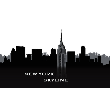 New York city skyline silhouette with sing on bow over white background