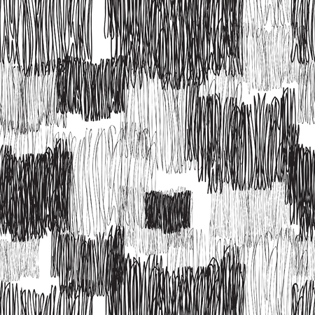 Abstract geometric seamless pattern. Black and white pencil drawing line texture Stylish abstract ornamental stripped background
