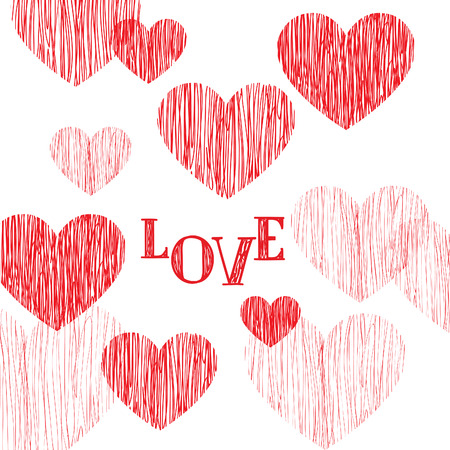 day saint valentin: Love pattern. Happy Valentines day card. Love heart pencil sketch background. Valentines day greeting card design