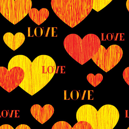 Love heart seamless pattern. Happy Valentines day wallpaper. Love heart pencil sketch tiled background. Valentines day ornament