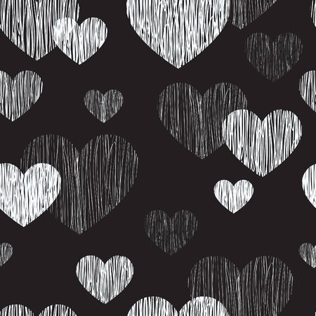 frame vector: Love heart seamless pattern. Happy Valentines day wallpaper. Love heart pencil sketch tiled background. Valentines day ornament