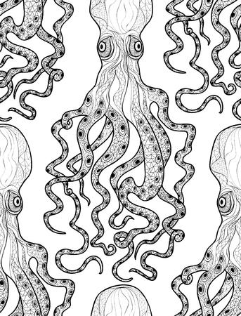 sea monster: Octopus seamless pattern. Sea Monster ornament. Marine life tiled background. Underwater seafood ornamental pattern.