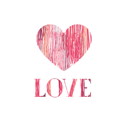 Love Happy Valentines day card Love heart pencil sketch background