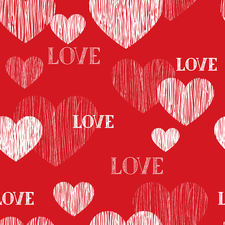 heart background: Love heart seamless pattern. Happy Valentines day wallpaper. Love heart pencil sketch tiled background. Valentines day ornament