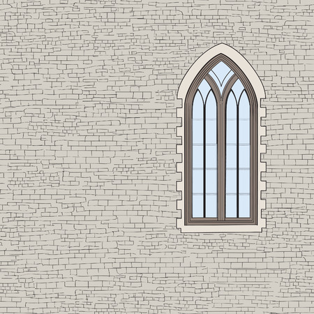 gothic window: Ancient brick wall background with gothic window. Shabby brick wall sketch pattern Architectural building facade