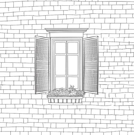 ventanas abiertas: Casa con la ventana de fondo clásico grabado. En mal estado modelo de la pared de ladrillo boceto construcción de la fachada