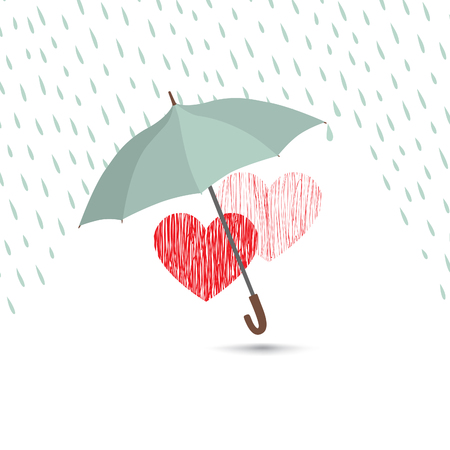 torrential rain: Love heart sign over rain under umbrella protection. Two hearts in love icon isolated over white background. Valentines day greeting card design