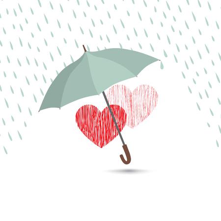 Muestra del amor del corazón sobre la lluvia bajo la protección de paraguas. Dos corazones en icono del amor aislados sobre fondo blanco. diseño de la tarjeta de felicitación del día de San Valentín