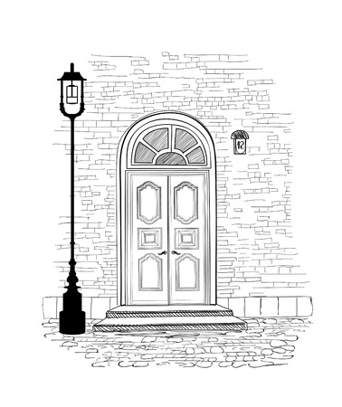 cosy: Old doors in vintage style over white background. House entrance hand drawing illustration. Doodle cosy street alleyway wallpaper design