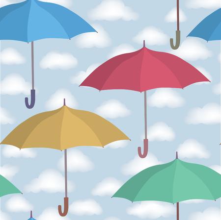 rainy sky: Umbrella seamless pattern. Cloudy sky tiling pattern. Rainy weather ornamental background