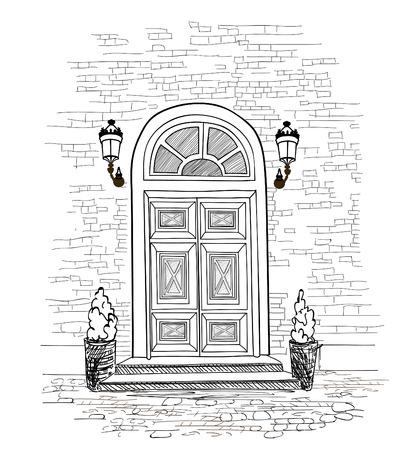 Door background. House door entrance hand drawing illustration Vectores