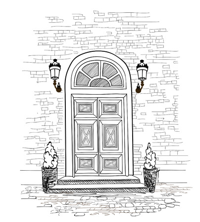Door background. House door entrance hand drawing illustration Stock Illustratie